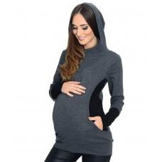 Těhotenské a mateřské mikina s kapucí